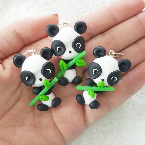 Cute Kawaii Panda Polymer Clay Charm, Panda Polymer Clay Pendant, Panda, Panda Charm, polymer clay, clay pendant, Kawaii, Chibi, Clay Charm