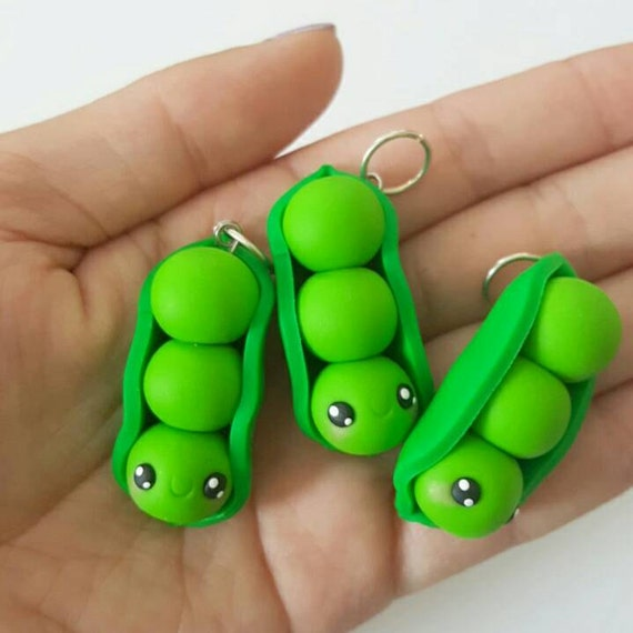 Pea Necklace Charms, Peas in a Pod Charm, Vegetable, Peas, Polymer Clay Pendant, BFF, polymer clay, clay pendant, Kawaii, Chibi, Clay Charm