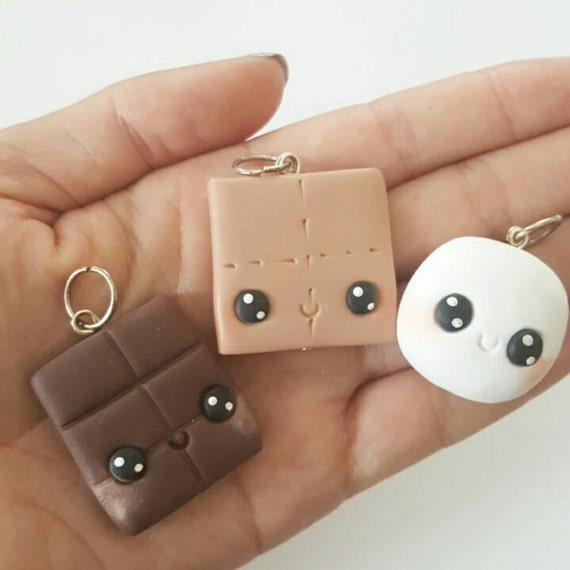 BFF Necklace Charms, Smores Set Charms, BFF, Best Friends, Polymer Clay Pendant, BFF, polymer clay, clay pendant, Kawaii, Chibi, Clay Charm