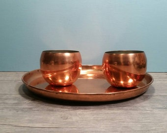 Copper Tray & Two Copper Roly Poly Cups