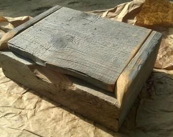 Barn wood flip top curio box