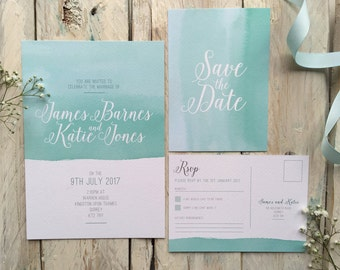 By the Sea - Watercolour Wedding Stationery Set