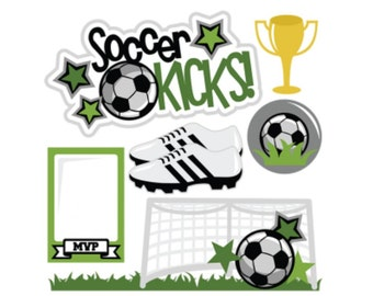Soccer die cuts, Soccer title, soccer, soccer scrapbook, soccer scrapbooking, sports die cuts, sports title, fall sports title, fall sports