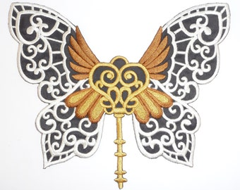 Embroidered Steampunk Butterfly Motif/Patch/Badge/Applique-Custom colours available