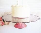 Cake Stand Vintage,Large /Rose,Garnet Wedding Cake Stand/Cupcake Stand/Special Occassion/Holiday Serving /Tea Party/Shabby Chic/12 Inch