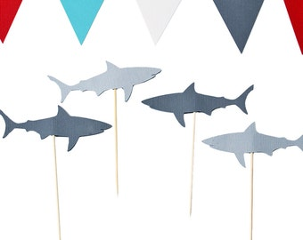 Shark Cupcake Toppers - Shark BIrthday Party - Shark Party Decorations - Under the Sea Party
