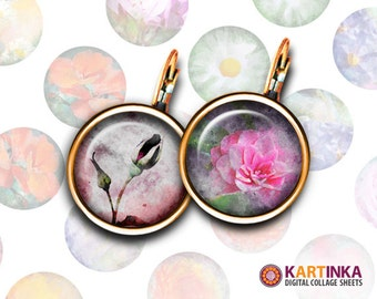 16mm & 12mm size Circles Printable Download FLOWERS WATER COLORS Digital Collage for Earrings Cuff links Pendants Rings Print it Yourself