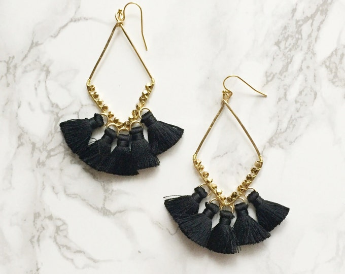 Black Geometric Tassel Drop Statement Earrings