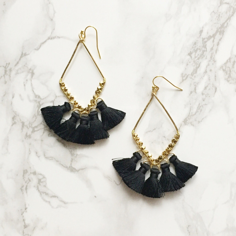 Black Geometric Tassel Drop Statement Earrings