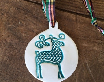 Ugly Sweater Deer Ornament Ugly Sweater Party Award-Ugly Christmas Sweater Ornament Hostess Gift, Handmade Pottery Ugly Sweater Ornament