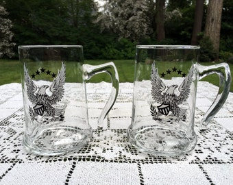 2 Eagle Glass Beer Steins by Libby  Open Handle Beer Mugs  5 in Tall  Set of 2  Patriotic 4th Of July Barware   Man Cave Decor  VG Cond