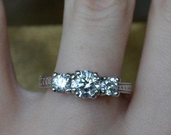 DEADsy LAST GASP SALE Plantinum Engagement Ring / .92 ct Diamond Platinum Engagement Ring / Near One Carat Diamond Ring