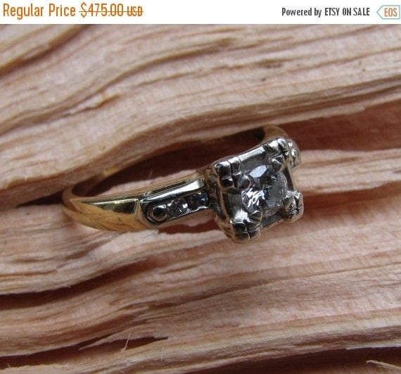 CUPID CHAOS SALE I Only Have Eyes For You : Antique Engagement Ring - Illusion-Head Solitaire Diamond with Accents - 1940s 1950s