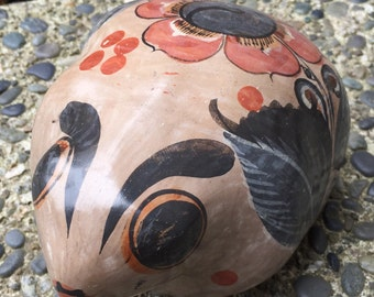 Tonala, Mexico vintage ceramic frog, Mexican pottery in earthy colors and mod flower design, rustic decor, 1970's era