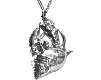 Herman Hermit                       -solid silver hermit crab necklace