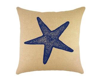 """Starfish Burlap Pillow 16"""", Nautical Throw Pillow"""