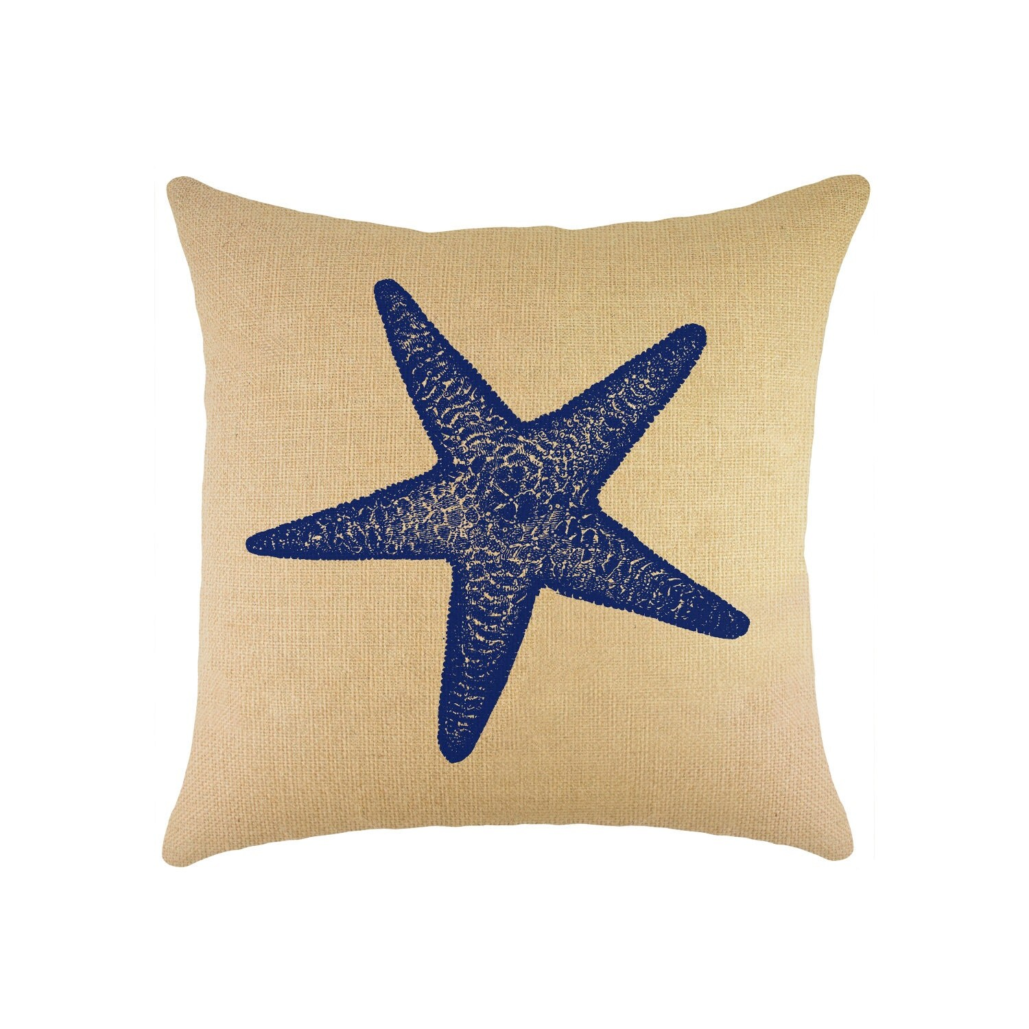 Nautical Coastal Throw Pillows : Starfish Burlap Pillow 16, Nautical Throw Pillow