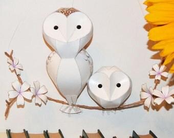 original artwork: small barn owl & owlet paper sculpture