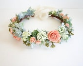 Flower Crown, Peach Flower Crown, Boho Headdress, Bridal Crown, Peach Wedding, Floral Head Wreath, Boho Wedding, Coral Wedding, SORBET FULL