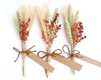 Fall Place Cards, Dried Wheat Bundle, Rustic Table Setting, Rustic Wedding Place Cards, Fall Wedding Escort Cards, Mini Wheat Sheaf
