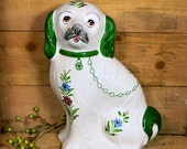 Large Hand Painted Portuguese Staffordshire Style Hearth Dog