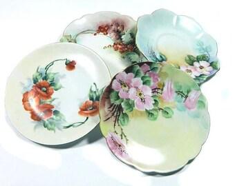 Four Little Mismatched Antique Hand Painted Plates