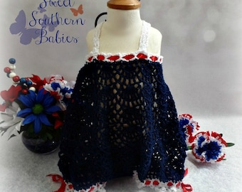 Baby Girl's Cotton Romper - Red, White, and Blue - Red Bow Headband - Perfect for the 4th of July