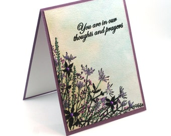 Sympathy card, Thoughts and prayers, Wildflower garden, thinking of you blank card