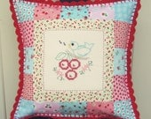 custom vintage embroidered patchwork pillow cover 16x16
