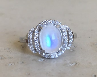 Art Deco Moonstone Ring- Rainbow Moonstone Engagement Ring- Oval Moonstone Promise Ring- Halo Moonstone Solitaire Ring- June Birthstone Ring