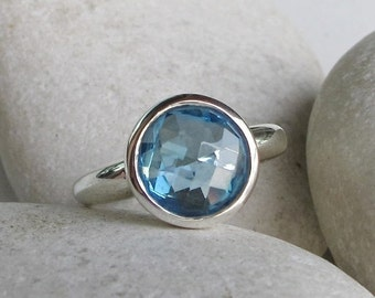 30 Off Sale Round Blue Topaz Ring- Topaz Ring- Promise Ring- Anniversary Ring- Quartz Ring- December Birthstone Ring- Blue Gemstone Ring- Bl