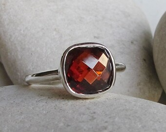 SALE Garnet Ring- January Birthstone Ring- Gemstone Rings- Stone Ring- Statement Ring- Red Stone Ring- Jewel Ring- Silver Ring