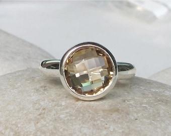 30 Off Sale Champagne Citrine Ring- Citrine Ring- November Birthstone Ring- Gemstone Ring- Gifts For Her- Quartz Ring- Topaz Ring-