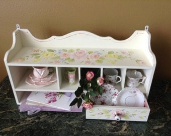 Shabby chic vintage desk cubby hand painted, roses,beautiful charming English Cottage home decor for bath, kitchen, wall, girls room