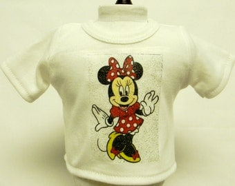 Minnie Mouse Theme Silver Glitter Transfer T-Shirt For 16 or 18 Inch Dolls Like The American Girl Or Bitty Baby