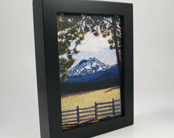 Framed 5x7 Canvas Giclee Fine Art Print, Mountain, Snow Capped Mountain, Landscape, Art & Collectibles, Ready to Hang, Museum Quality