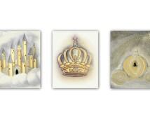 Royal Princess Nursery Art, Castle, Cinderella's Coach, Princess Crown, Nursery wall art, Nursery decor, girl nursery art, baby girl nursery