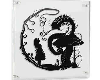 Alice in Wonderland // Alice and the Caterpillar - hand cut paper art // fantasy storybook disney wall artwork silhouette paper illustration