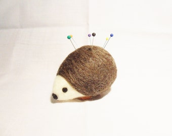 Needle Felted Hedgehog Pin Cushion - corridale & merino wool - felted pin cushion - felted hedgehog