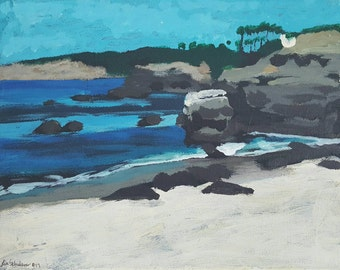 "La Jolla Cove Seal Beach acrylic painting by Lisa Schulaner 8"" x 10"" original."