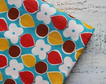 Vintage cotton fabric 3.08 yards in 1 listing orange blue white floral boho bohemian