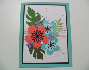 Handmade Flower Card - Birthday Card - Thinking of You Card - Thank You Card - Get Well Card - BLANK Inside & Outside