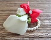 Wrist Corsage, White Calla Lily and Red Ribbon Corsage