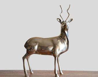 Vintage Brass Kudu Antelope Deer
