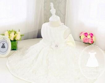 Ivory Full Lace Flower Girl Dress,Newborn Girl Dress, Christening Dress, Baby Girl Dress for Birthday Party, PD030