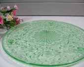 Green Depression Glass Cake Plate,  Footed Dessert Plate, Cake Stand, Dessert Stand