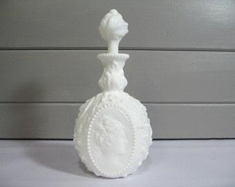 Fostoria Jenny Lind Milk Glass Decanter, Vintage Barware, Vintage Wine Decanter