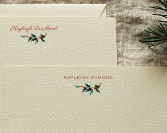 Holiday Personalized Notecards or Thank You Cards Holly Christmas