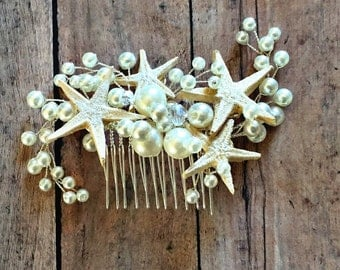Mermaid hair comb with starfish and pearls