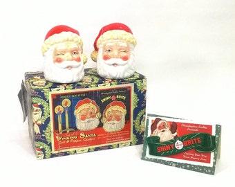 Winking Santa Salt and Pepper Shakers, Retro Salt Pepper Shakers